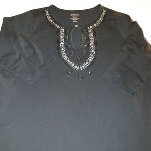 AVENUE embroidered 3/4 sleeve tunic
